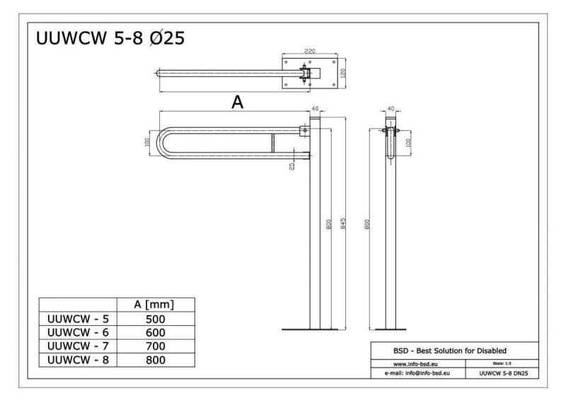 WC - Klappgriff freistehend für barrierefreies Bad 80 cm aus rostfreiem Edelstahl ⌀ 25 mm