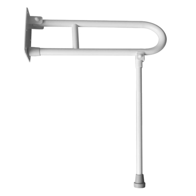 Klappgriff am WC oder Waschbecken für barrierefreies Bad mit Stützbein weiß 50 cm ⌀ 32 mm
