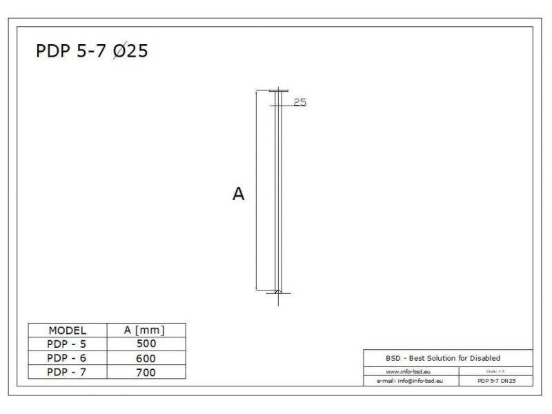 Deckenbefestigung für Duschvorhangstange aus Edelstahl 50 cm
