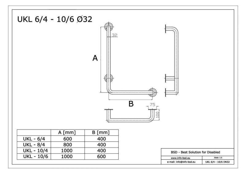 Winkelgriff 80/40 cm für barrierefreies Bad links montierbar weiß ⌀ 32 mm mit Abdeckrosetten