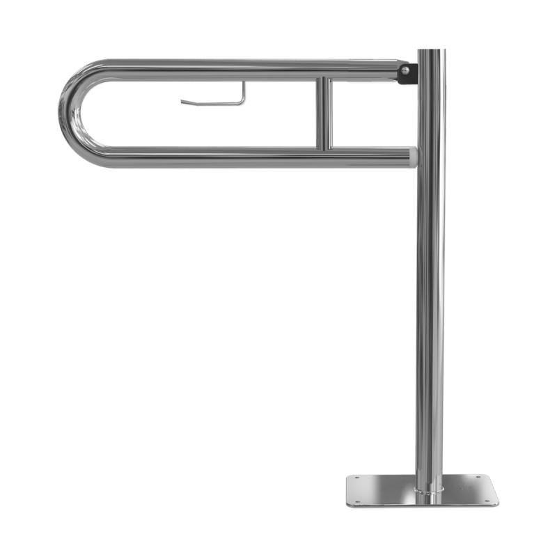 WC Klappgriff für barrierefreies Bad 75cm mit Toilettenpapierhalter aus rostfreiem Edelstahl ⌀ 32 mm mit Abdeckplatten
