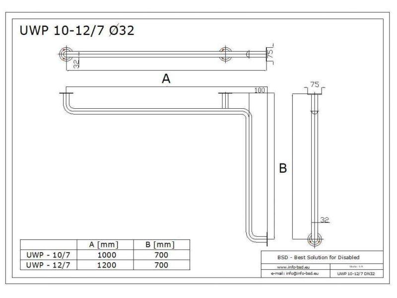 Winkelgriff waagerecht für barrierefreies Bad Stangenlänge 120/70cm aus rostfreiem Edelstahl ⌀ 32 mit Abdeckrosetten