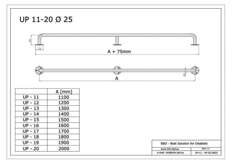 Gerader Handlauf für barrierefreies Bad 180 cm aus rostfreiem Edelstahl ⌀ 25 mm