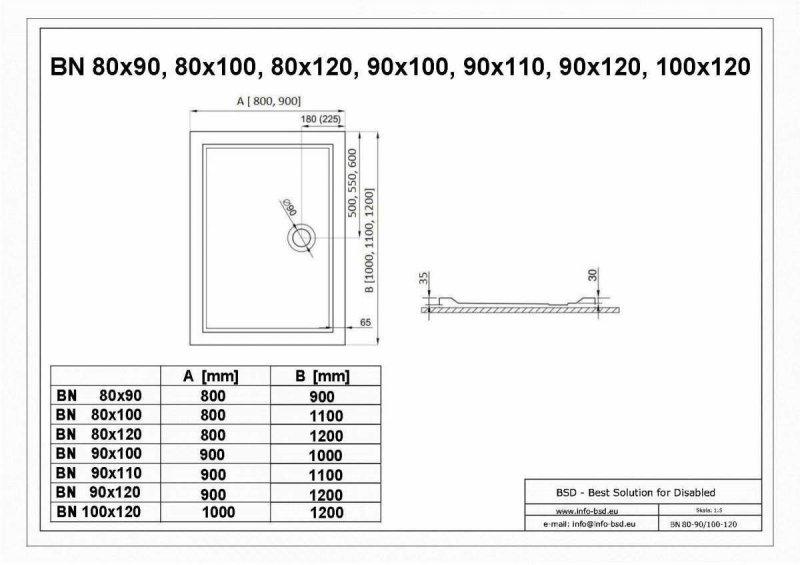 Duschwanne mit Abfluss seitig für barrierefreies Bad 120 x 90 cm