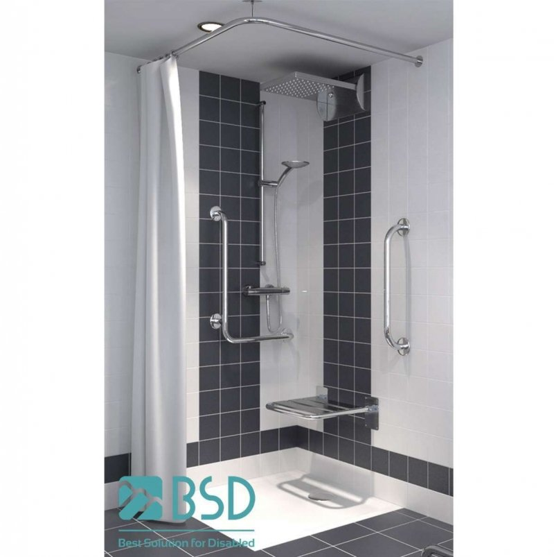 Verstellbare winkelförmige Duschvorhangstange aus Edelstahl 100 x 100 cm