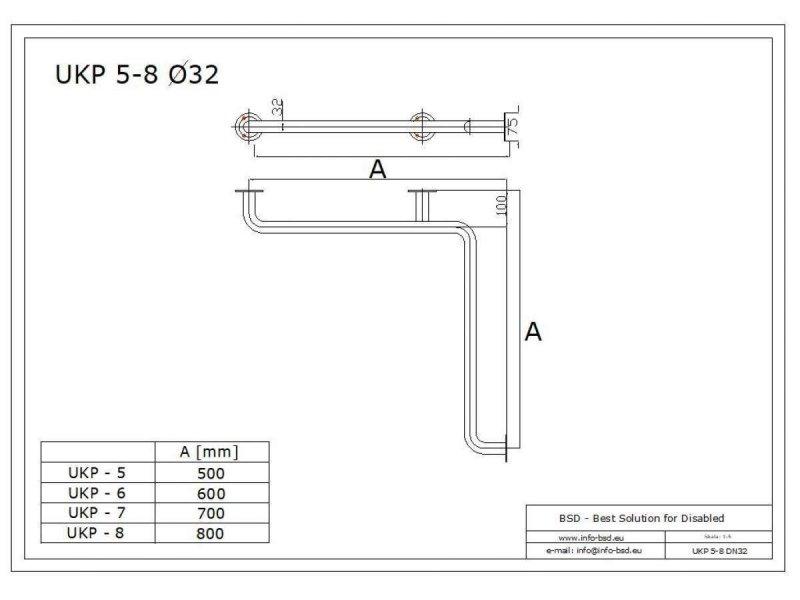 Winkelgriff waagerecht für barrierefreies Bad 80/80cm aus rostfreiem Edelstahl ⌀ 32 mm