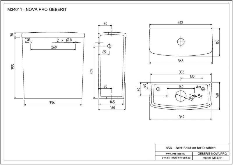 Spülkasten für Aufsatzmontage in rechteckiger Form