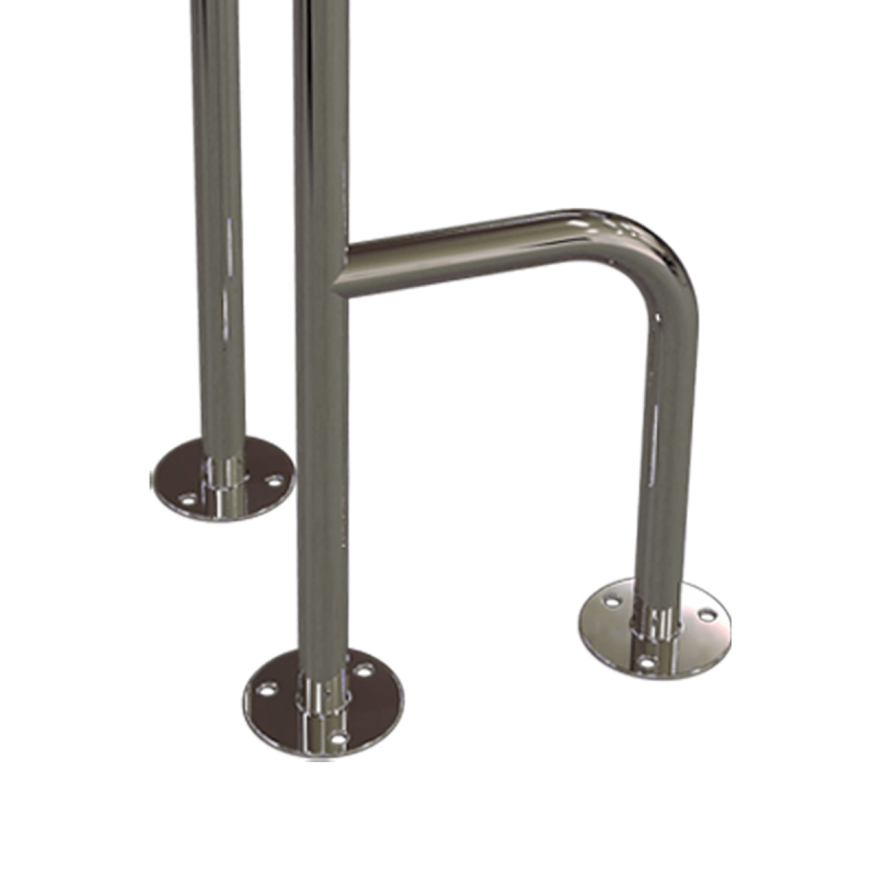 WC - Stützgriff für barrierefreies Bad zur Bodenmontage links 80 cm hoch aus rostfreiem Edelstahl ⌀ 25 mm