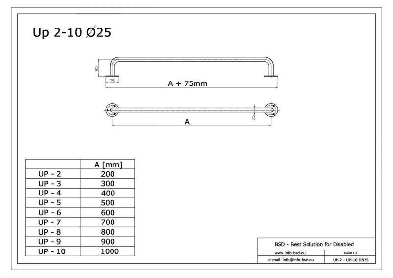 Gerader Handlauf für barrierefreies Bad 80 cm  aus rostfreiem Edelstahl ⌀ 25 mm