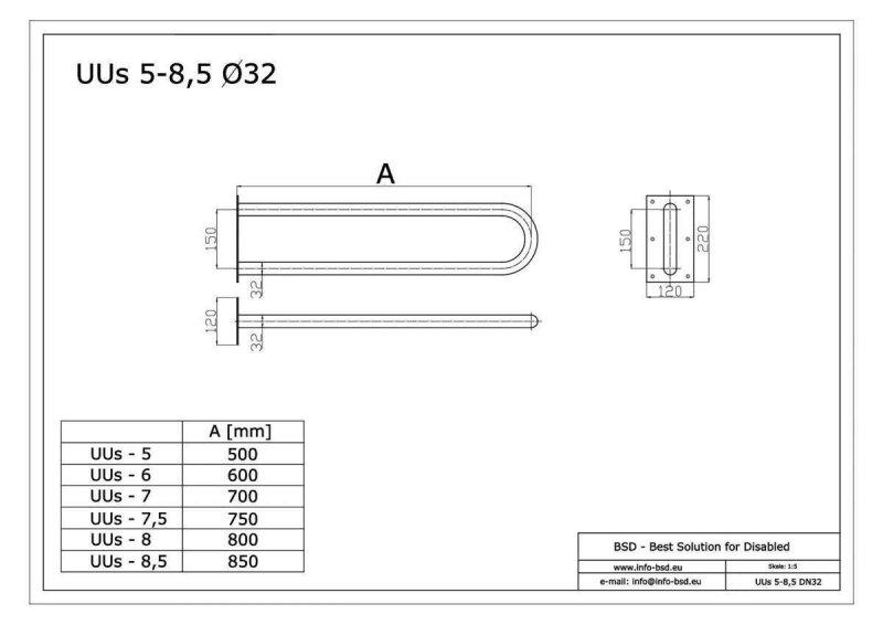 Stützgriff für barrierefreies Bad aus rostfreiem Edelstahl 60 cm ⌀ 32 mm
