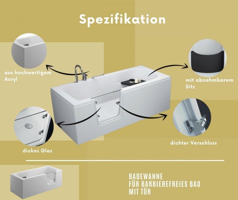 Badewanne für barrierefreies Bad mit Tür rechts und integrierter abnehmbarer Sitzbank für Senioren AVO 160 cm