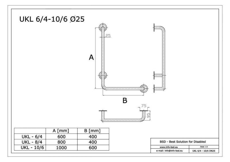 Winkelgriff für barrierefreies Bad 60/40 cm links montierbar aus rostfreiem Edelstahl ⌀ 25 mm