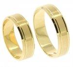Obrączki ślubne złote 585 płaskie z rowkami 6 mm
