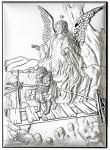 Anioł stróż srebrny Ryngraf chrzest komunia ślub
