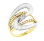 Złoty pierścionek 585 z cyrkoniami białe żółte złot