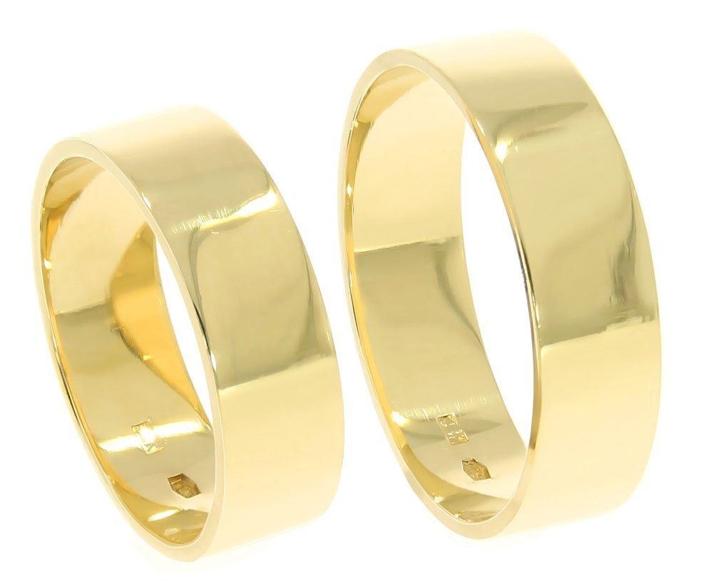 c604a8ef7dd413 Obrączki ślubne złote 585 płaskie polerowane 6 mm - Obrączki