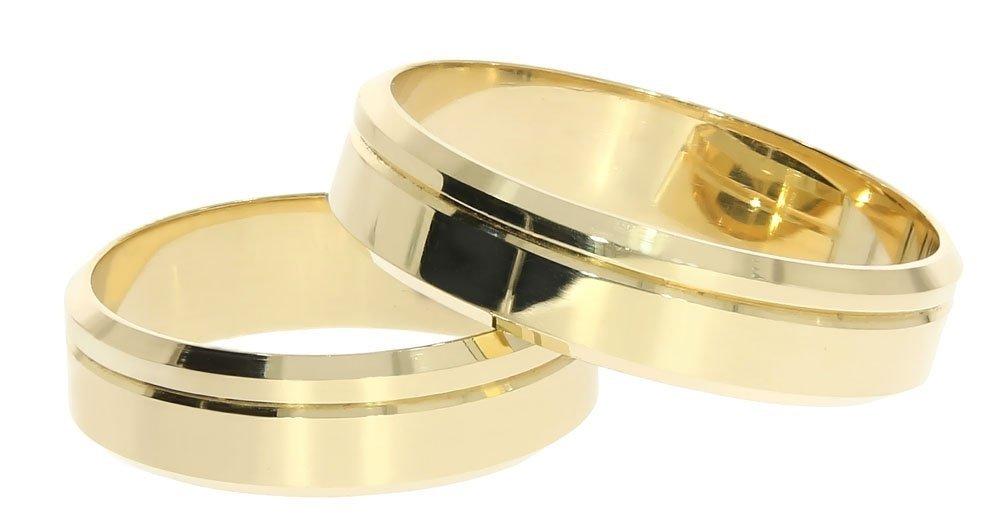 1142af3a778d1c Obrączki ślubne złote 585 płaskie z fazą 5 mm - Obrączki