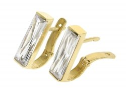 Kolczyki złote 585 z cyrkoniami etui dedykacja gratis