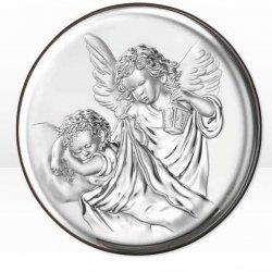 Aniołki z latarenką obrazek srebrny Ryngraf chrzest