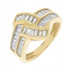 Złoty pierścionek 585 z cyrkoniami