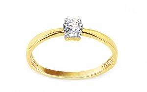 Złoty pierścionek zaręczynowy dwukolorowy 585 z brylantem 0,1ct