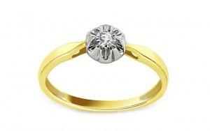 Złoty pierścionek zaręczynowy 585 brylant 0,1ct