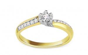 Złoty pierścionek zaręczynowy z białym złotem 585 z brylantem 0,13ct