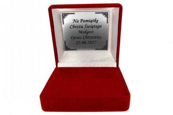 Smoczek srebrny chrzest prezent chrzciny etui grawer