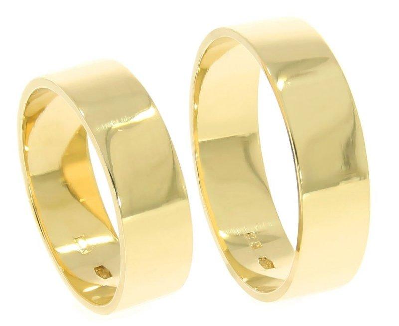 Obrączki ślubne złote 585 płaskie polerowane 6 mm