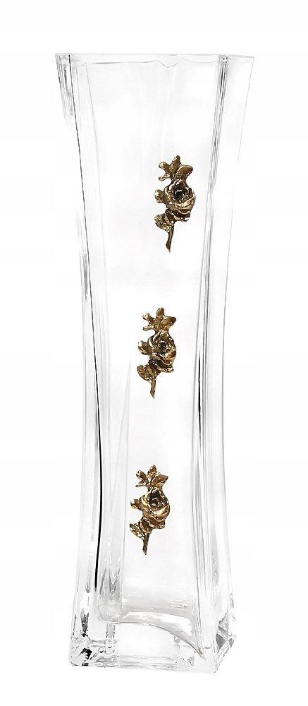 Kryształowy wazon z elementami mosiądzu