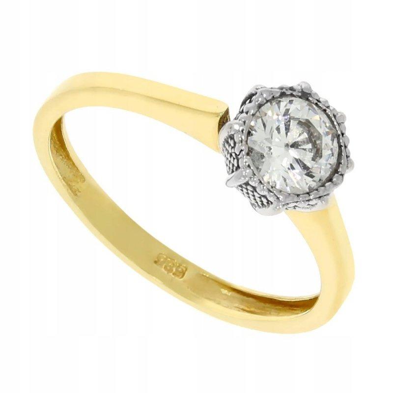 Klasyczny złoty pierścionek 585 z cyrkonią 2 kolory