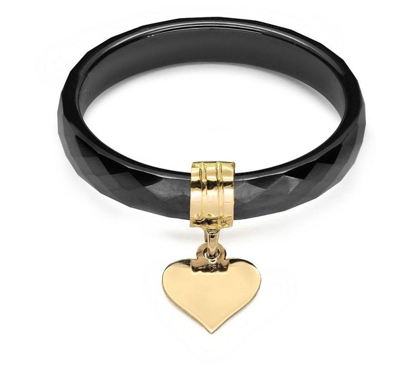 Ceramiczny pierścionek z serduszkiem 585 złote serce