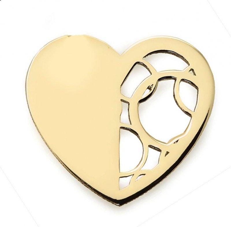 Złota zawieszka 585 serduszko ażurowe do celebrytki | celebrytka serce