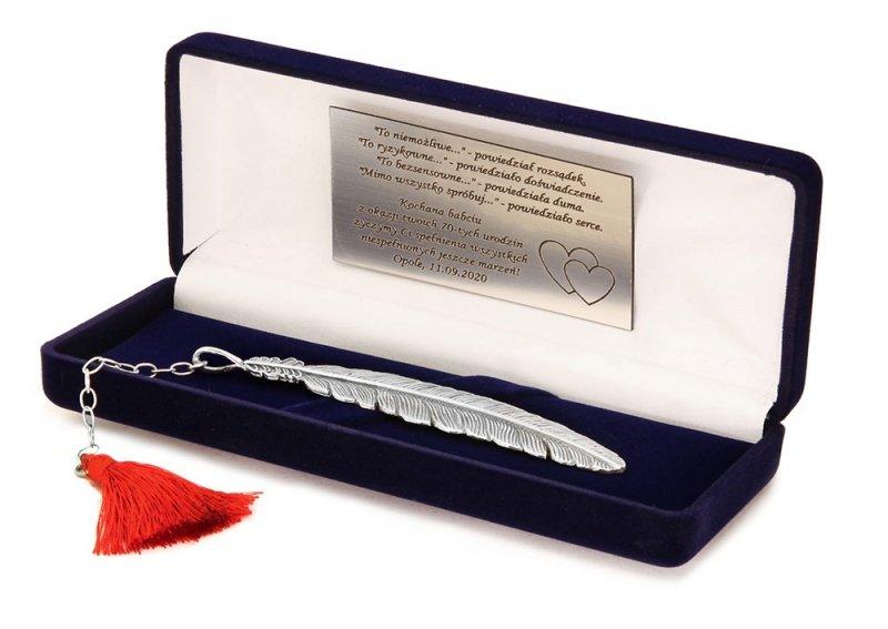 Zakładka do książki srebrna grawer na prezent | Piórko z chwostem
