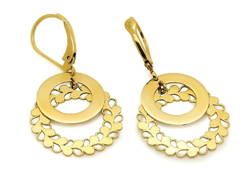 Złote kolczyki 585 kółeczka
