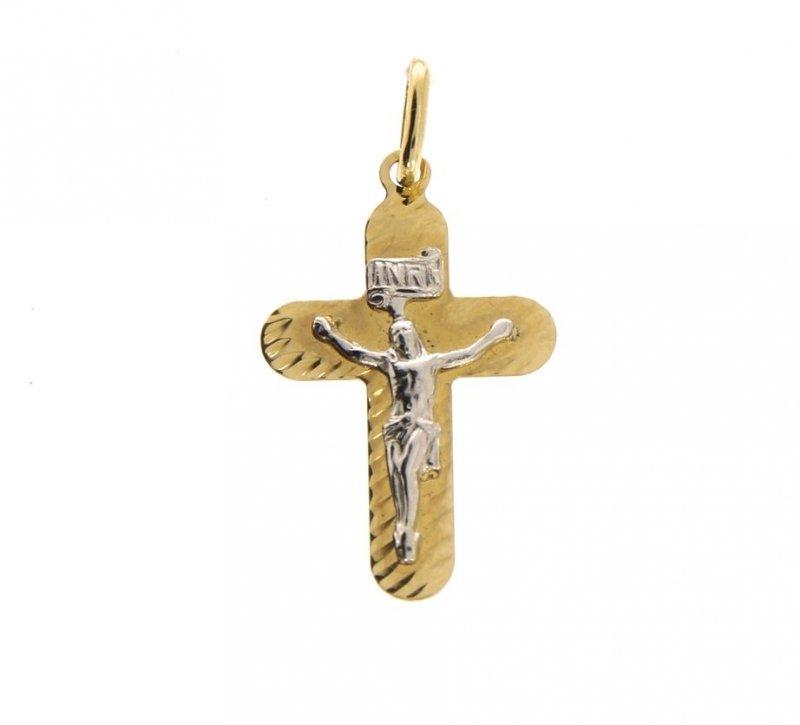 Zawieszka krzyżyk zdobiony cyrkonie złoto 585 idealny prezent na komunię, chrzciny