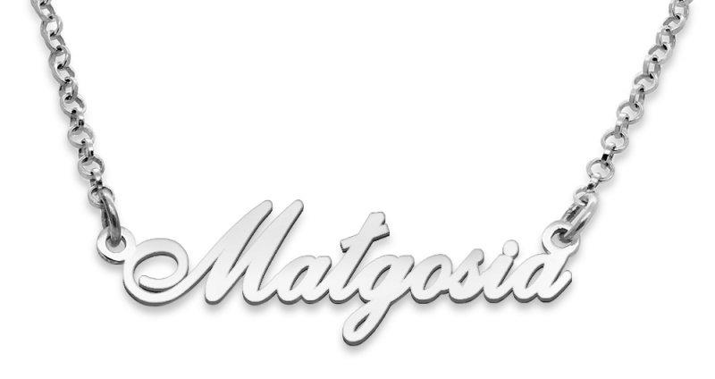 Srebrny napis Małgosia - naszyjnik z imieniem , srebro 925