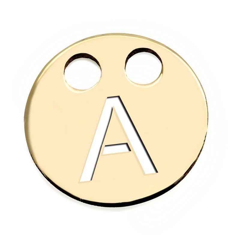 Złota zawieszka 585 kółeczko z literką A do celebrytki