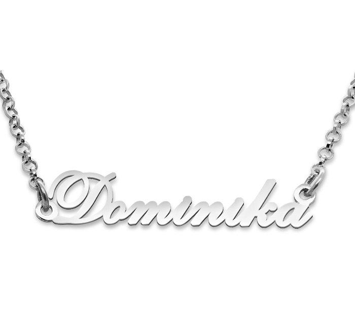 Srebrny napis Dominika - naszyjnik z imieniem , srebro 925
