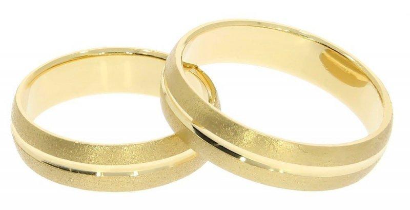 Obrączki ślubne złote 585 matowane z rowkiem 5 mm