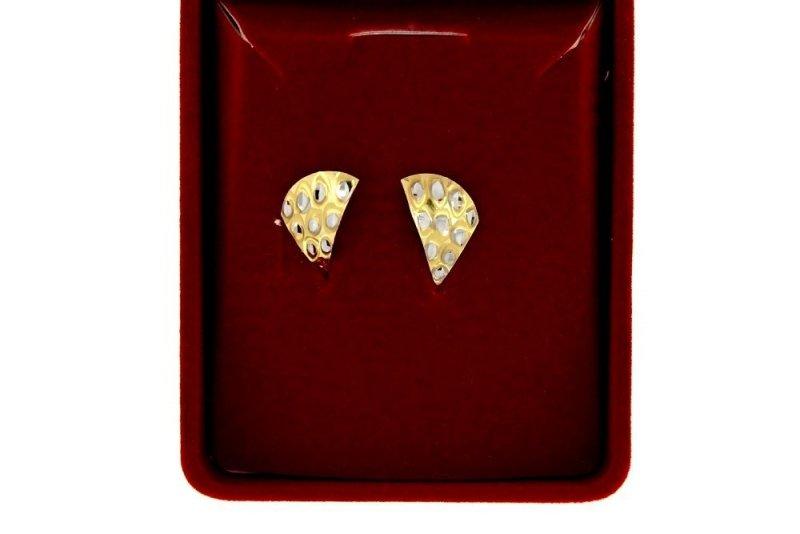 Złote kolczyki 585 diamentowane angielskie zapięcie