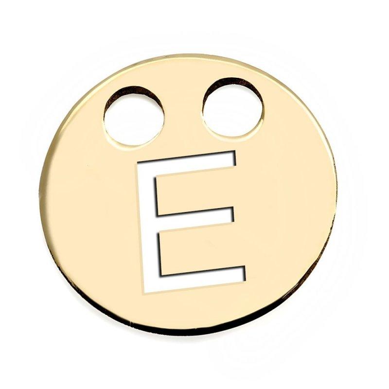 Złota zawieszka 585 kółeczko z literką E do celebrytki