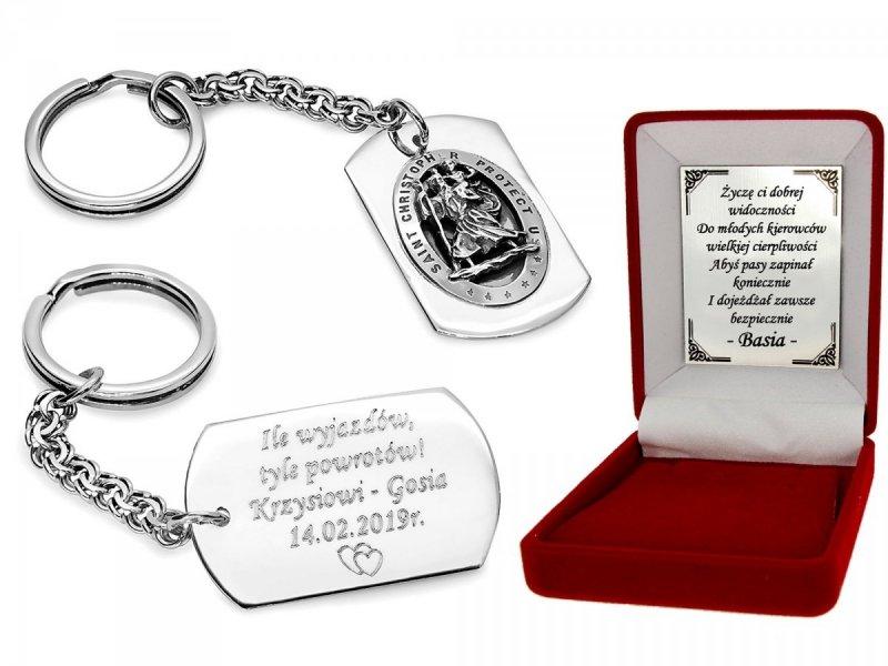 Breloczek srebrny Święty Krzysztof 925 + Dedykacja i grawer