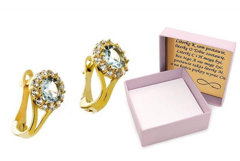 Złote kolczyki 585 z błękitną cyrkonią
