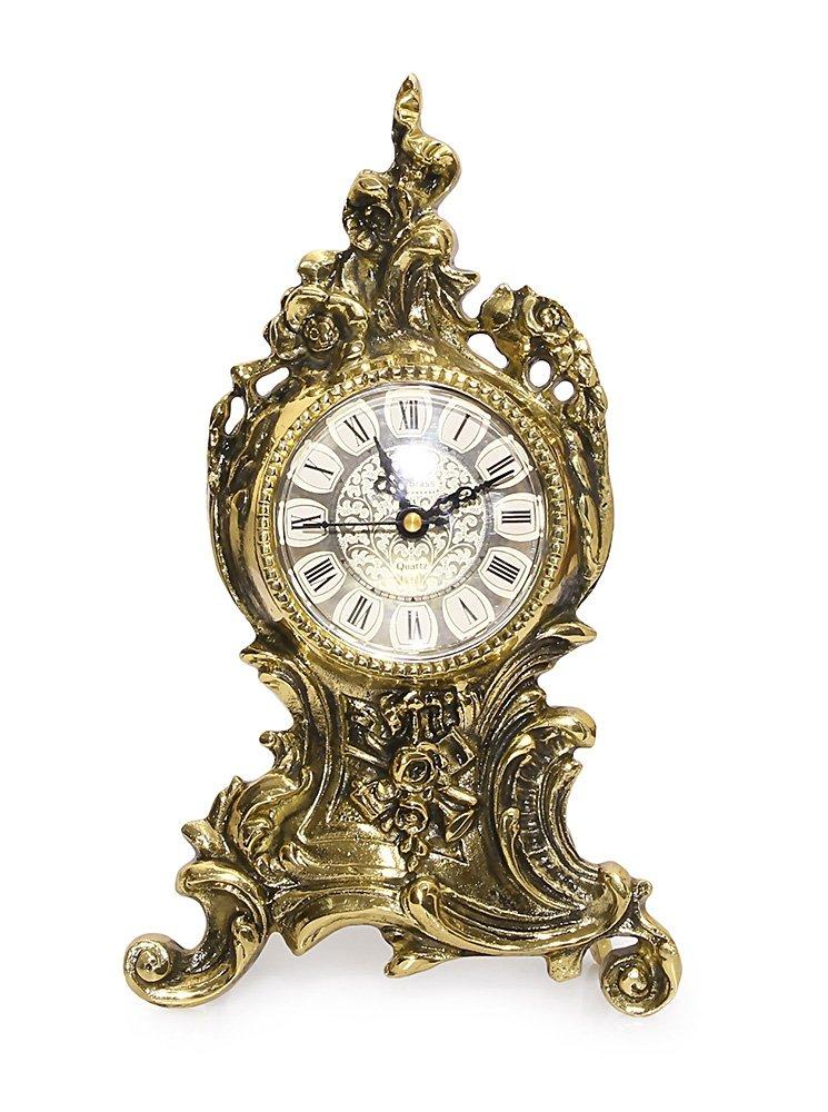 Mosiężny zegar kominkowy rokoko stylowy stojący
