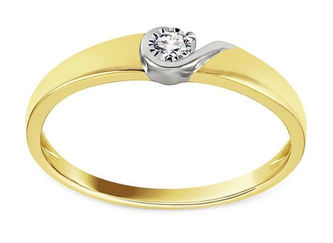 Złoty pierścionek zaręczynowy 585 z brylantem 0,01ct