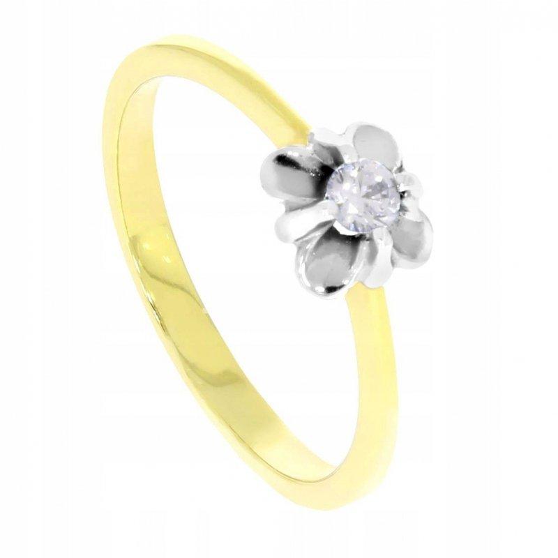 Złoty pierścionek 585 kwiatek z cyrkonią