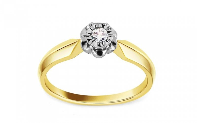 Złoty pierścionek zaręczynowy 585 z brylantem 0,08ct