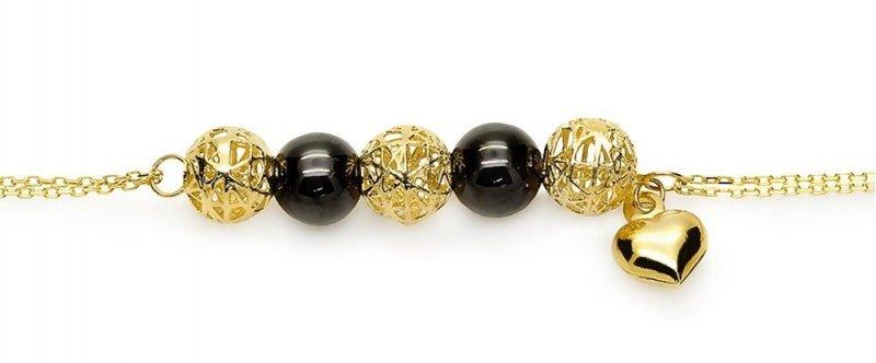 Bransoletka złota 585 czarne kuleczki