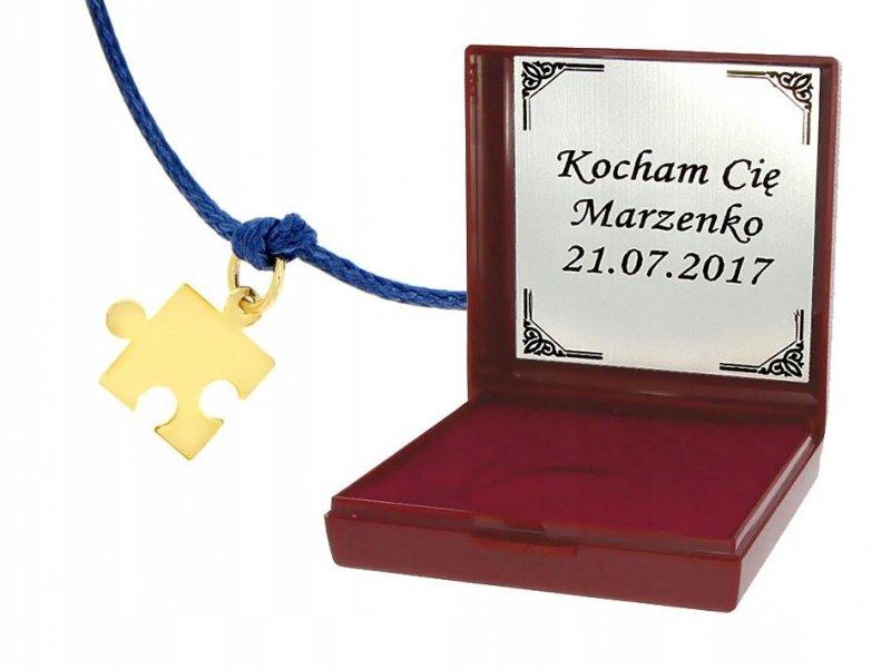 Srebrny puzzel 925 pozłacany bransoletka na rzemyku